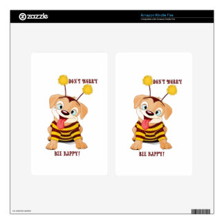 Dog Puppies Lovers Bees Don't Worry, Bee Happy! Decal For Kindle Fire