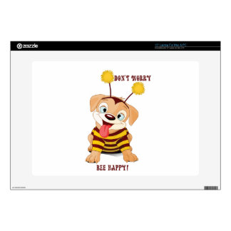 Dog Puppies Lovers Bees Don't Worry, Bee Happy! Laptop Decal