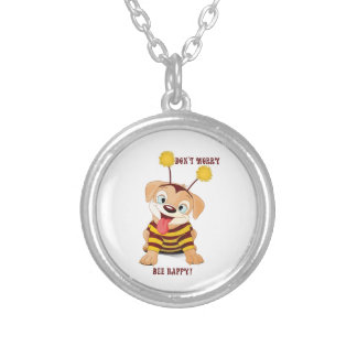 Dog Puppies Lovers Bees Don't Worry, Bee Happy! Silver Plated Necklace