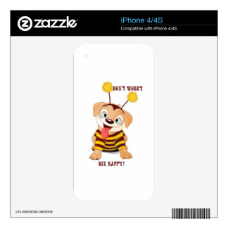 Dog Puppies Lovers Bees Don't Worry, Bee Happy! Skin For iPhone 4