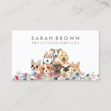 Dog puppies with flowers pet sitter veterinary business card