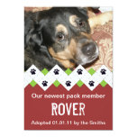 "Dog/Puppy Adoption Announcement 5"" X 7"" Invitation Card"