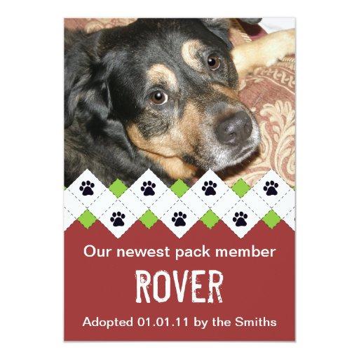 "Dog/Puppy Adoption Announcement 5"" X 7"" Invitation Card"
