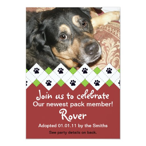 "Dog/Puppy Adoption Party Announcement 5"" X 7"" Invitation Card"