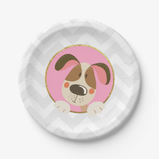 Dog puppy Birthday Paper Plates Paw-ty Pink Gold