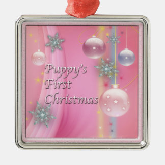 Dog Puppy First Christmas Puppy Dog Christmas Orna Metal Ornament