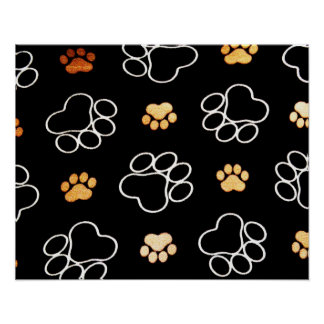 Dog Puppy Paw Prints Gifts Black and Gold