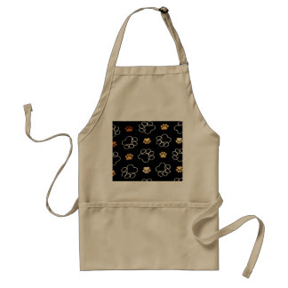 Dog Puppy Paw Prints Gifts Black and Gold Adult Apron