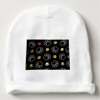 Dog Puppy Paw Prints Gifts Black and Gold Baby Beanie