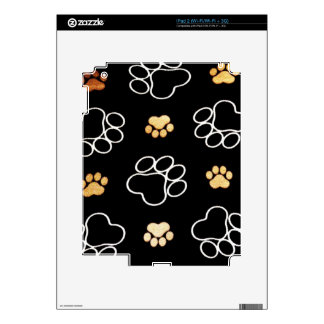 Dog Puppy Paw Prints Gifts Black and Gold Decal For The iPad 2