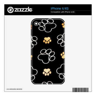 Dog Puppy Paw Prints Gifts Black and Gold Decal For The iPhone 4S