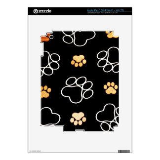 Dog Puppy Paw Prints Gifts Black and Gold Decals For iPad 3