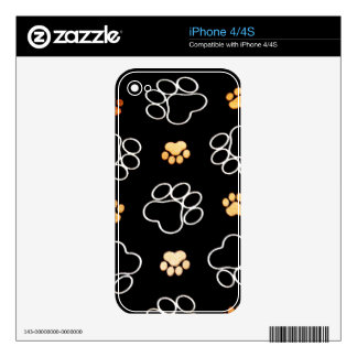 Dog Puppy Paw Prints Gifts Black and Gold Decals For The iPhone 4S