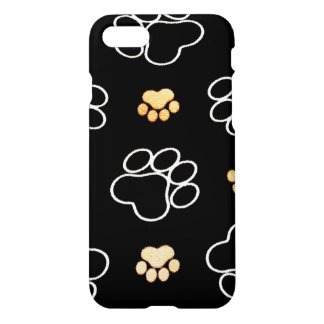 Dog Puppy Paw Prints Gifts Black and Gold iPhone 8/7 Case