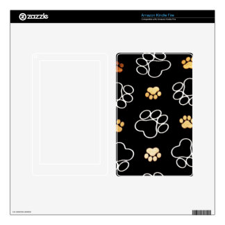 Dog Puppy Paw Prints Gifts Black and Gold Kindle Fire Decal