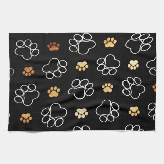 Dog Puppy Paw Prints Gifts Black and Gold Kitchen Towel