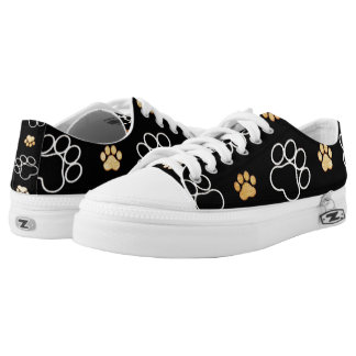 Dog Puppy Paw Prints Gifts Black and Gold Low-Top Sneakers