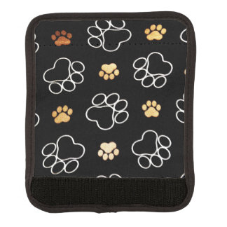 Dog Puppy Paw Prints Gifts Black and Gold Luggage Handle Wrap