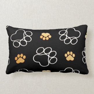 Dog Puppy Paw Prints Gifts Black and Gold Lumbar Pillow