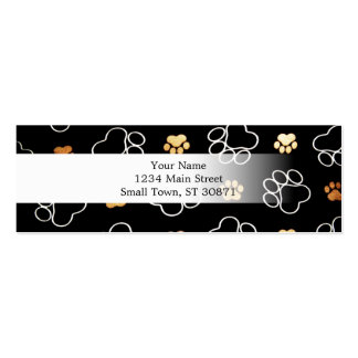 Dog Puppy Paw Prints Gifts Black and Gold Mini Business Card