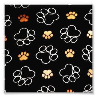 Dog Puppy Paw Prints Gifts Black and Gold Photo Print