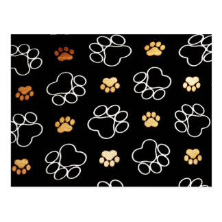 Dog Puppy Paw Prints Gifts Black and Gold Postcard