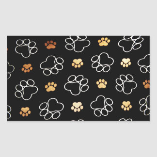 Dog Puppy Paw Prints Gifts Black and Gold Rectangular Sticker
