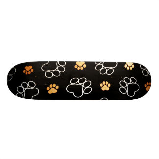 Dog Puppy Paw Prints Gifts Black and Gold Skateboard Deck