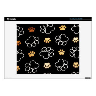 """Dog Puppy Paw Prints Gifts Black and Gold Skin For 14"""" Laptop"""