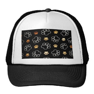 Dog Puppy Paw Prints Gifts Black and Gold Trucker Hat