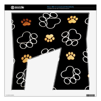 Dog Puppy Paw Prints Gifts Black and Gold Xbox 360 S Decal