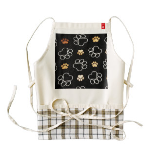 Dog Puppy Paw Prints Gifts Black and Gold Zazzle HEART Apron
