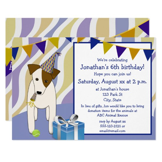dog puppy wearing party hat boy's birthday party invitation