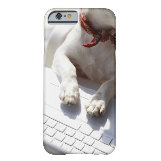 Dog putting his hands on a laptop barely there iPhone 6 case