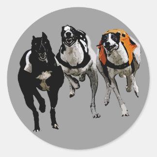 DOG RACE GREYHOUND CLASSIC ROUND STICKER