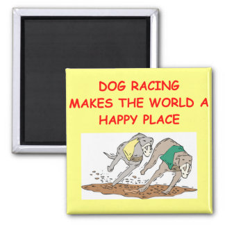 dog racing fridge magnet