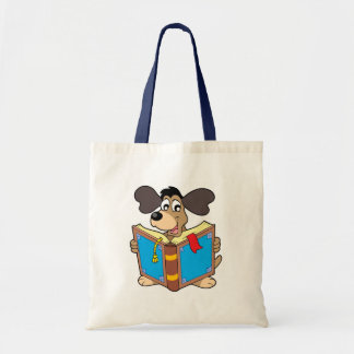 Dog reading book canvas bags