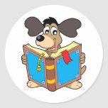 Dog reading book classic round sticker