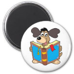 Dog reading book magnets