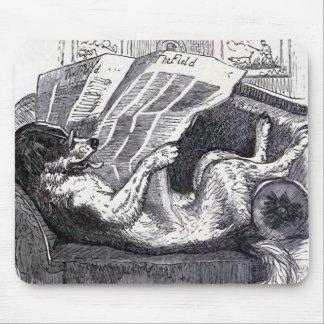 """""""Dog Reading Newspaper"""" Vintage Illustration Mouse Pad"""
