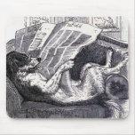 """""""Dog Reading Newspaper"""" Vintage Illustration Mousepad"""