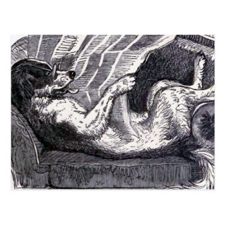 """Dog Reading Newspaper"" Vintage Illustration Postcard"