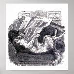 """""""Dog Reading Newspaper"""" Vintage Illustration Posters"""