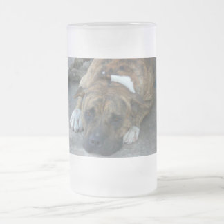 Dog relaxing frosted glass beer mug