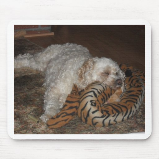 Dog relaxing on tiger striped bed mousepads