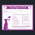"""Dog Report Card for Dog Groomers<br><div class=""""desc"""">Your dog grooming clients will love these dog report cards! Use them to itemize all the services you provided during their dog&#39;s last groom, and use the back of the card to let them know about their dog&#39;s behavior, coat condition and more. There&#39;s also space for you to recommend grooming...</div>"""