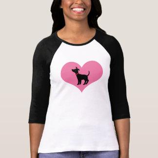 Dog Rescue Black Dog Pink Heart Dog Lover T-shirt