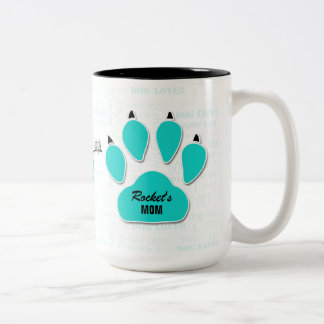 Dog Rescue | Moms are Heroes | Turquoise Paw Print Two-Tone Coffee Mug
