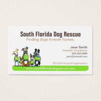 Dog Rescue Non Profit Green Tagline Business Card