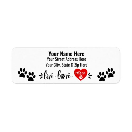 Dog Rescue Themed Label